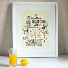 Vintage style robot print kids room decor print 60s by SovietEra
