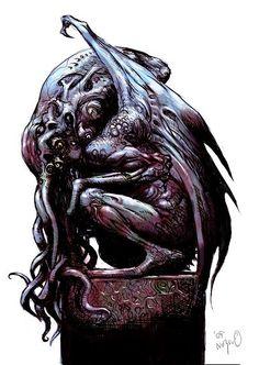 Tatsuya Nemoto (H.P Lovecraft Illustration) Cthulhu 8 Hp Lovecraft, Lovecraft Cthulhu, Arte Horror, Horror Art, Yog Sothoth, Call Of Cthulhu Rpg, Lovecraftian Horror, Eldritch Horror, Digital Painting Tutorials