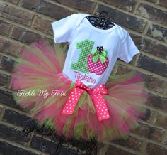 Hot Pink and Lime Apple Of My Eye Birthday Tutu Outfit-Pink and Lime Apple…