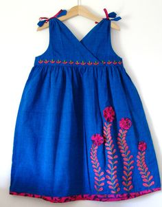 Boutique 'COBALT' dress in cottonsize4T girls 7 by poompatta, $30.00
