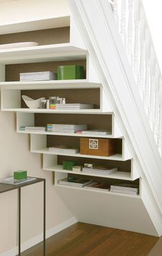 18 Useful Designs for Your Free Under Stair Storage brilliant functionally storage under staircase ideas on home decorating with under stair with grey door and white stair. Under Staircase Ideas, Storage Under Staircase, Space Under Stairs, Modern Staircase, Staircase Design, Closet Under Stairs, Stair Shelves, Bookshelf Storage, Diy Storage