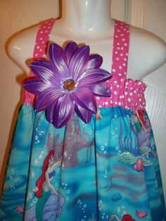 Ariel dress Disney Princess Birthday Party mermaid outfit pink purple crystal flower bow 3 6 9 12 18 months 2t 3t 4t 5 6 7 8 10 12. $39.50, via Etsy.
