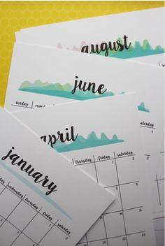 2017 free printable watercolour calendar