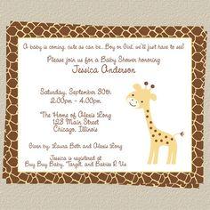 giraffe babyshower theme | Giraffe Baby Shower Invitation Jungle or by TheInviteLadyShop, $6.50