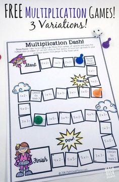 This adorable set of printable multiplication games is so easy to use-just print and play! And I love that there are different versions to help kids focus on specific multiplication skills!