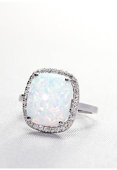 just my size! maybe i want an opal....? Belk & Co. 10k White Gold Created Opal and Diamond Ring