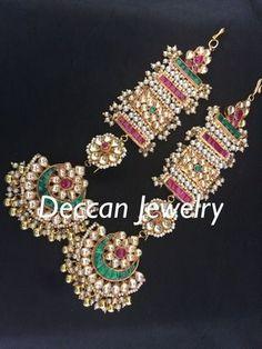 Jovita pachi Kundan earrings - Deccan Pearls and Jewellery Indian Jewelry Earrings, Jewelry Design Earrings, Gold Earrings Designs, Silver Jewelry, Gold Jewellery, Jewelery, Royal Jewelry, India Jewelry, Temple Jewellery