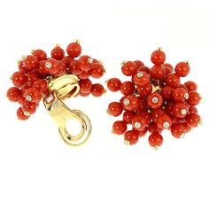 Aletto Brothers Mediterranean Coral Beaded Diamond Earrings  | From a unique collection of vintage clip-on earrings at https://www.1stdibs.com/jewelry/earrings/clip-on-earrings/