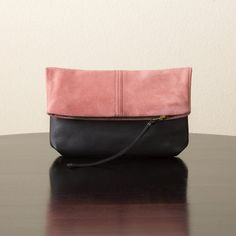 Suede Leather and Leather Foldover Clutch  Pink by jillydesigns, $99.00