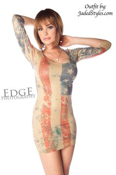 Patriotic American USA Flag Distressed Red White Blue Fitted Seamless Mini Dress #OTHER #StretchBodycon #Clubwear