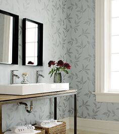 💚Double sided sink with separate mirrors can be key! Love this sweet Thibaut Earth Vine wallpaper in Metallic on Gray from Natural Resource Unusual Wallpaper, Metallic Wallpaper, Bathroom Wallpaper, Home Wallpaper, Heart Wallpaper, Bathroom Colors, Beautiful Bathrooms, Home Decor Styles, Modern Interior Design