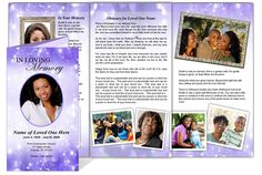 Collage Funeral Memorial Tri Fold Brochures : AO Glitter Tri Fold Brochure Template available in purple (shown), gold, green, pink, and blue. Ready made, edit and print yourself.