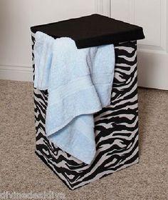 LAUNDRY CLOTHES HAMPER Black White Zebra Print Wild Animal Safari Decor