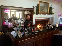 Bartender and The Abbey Captain-extraordinaire Kevin manning the Cuvier Club's new bar!