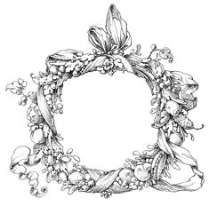 Vintage Clip Art - Fab Ornate Wreath - Frame - The Graphics Fairy