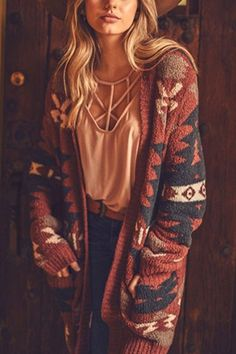 Buranan Clothing Women Winter Coats Pluse Size Cowboy Style Native American Inspired Print Outwear Casual Knitted Cardigan : Buranan Pluse Size Print Outwear Autumn Winter Casual Cowgirl Style Kn – My World Country Style Outfits, Western Outfits, Boho Outfits, Western Wear, Fall Outfits, Cute Outfits, Grunge Style, Tribal Print Cardigan, Cardigan Outfits