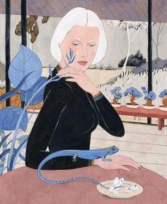 """New painting finished: """"The Bonsai Keeper"""". It's a bit cropped so visit my blog (link in profile) for full view. / Terminada! """"La cuidadora de bonsáis"""". Se ve un poco cortada acá pero la versión completa está en mi blog (link en perfil)"""