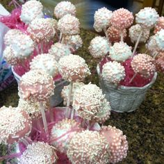 Cake pops  strawberry cake mix make it in a cake pop maker and then dip it into melted pink candy with white sprinkles and white candy with pink sprinkles then you put it in any dish that has foam or the green plant styrofoam and i put pink easter grass in it for decoration (: