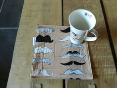 Mustache fabric Mug Rug, Cup cozy, Drinks cosy Coaster, quilted snack mat, Trending now, table ware, quilting gifts, hand made, for him,