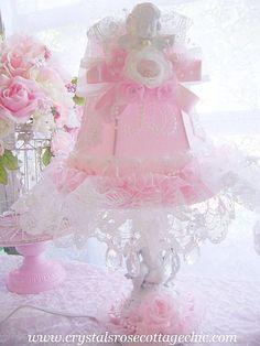 Girls Room Decor Shabby Chic Pink Vintage Cherub Lamp Angel Romantic Rose. $99.50, via Etsy.
