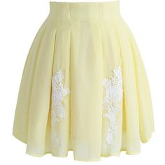 Chicwish Flower Keeper Pleated A-line Skirt in Yellow (24.285 CLP) ❤ liked on Polyvore featuring skirts, pants, bottoms, yellow, flower skirt, holiday skirts, pleated skirt, knee length a line skirt and embroidered skirt