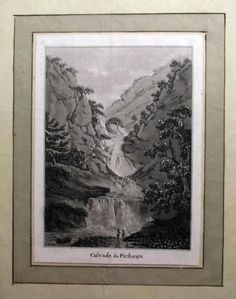 1776 Rosenberg Aquatint Cascade du Pichoux JURA SWITZERLAND wash SUISSE