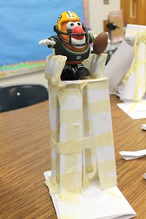 Engineering Challenge--have kids (divided into groups) make a chair to hold class mascot using only paper, tape, and ingenuity