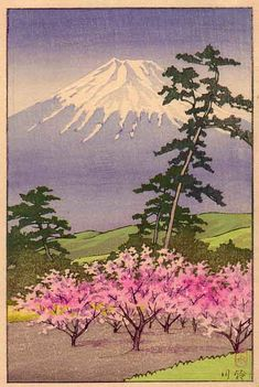Hasui-Fuji-Cherry-web-.jpg www.miniaturejapaneseprints.com