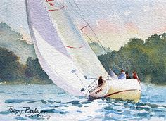 Slipping Away I by Poppy Balser Watercolor ~ 5 x 7 Watercolor Artists, Watercolor Techniques, Watercolor Paintings, Watercolors, Ocean Paintings, Best Pontoon Boats, Sailboat Painting, Beach Watercolor, White Art
