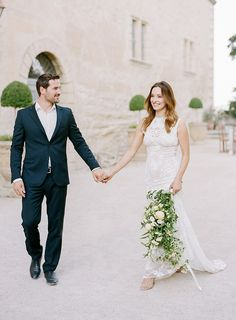 Bride and Groom. Destination wedding style. French countryside. Clarie Pettibone dress.