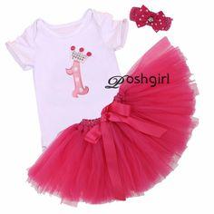 3ピースセット赤ちゃん女の子王冠チュチュドレス幼児第一誕生日パーティー衣装ロンパースバブルスカートカチューシャベベ新生児チュールvestidos