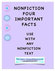 Weekly Freebie: FREE Reading Resource  Free from Ruth S. on TpT    NonFiction Text Four Important Facts