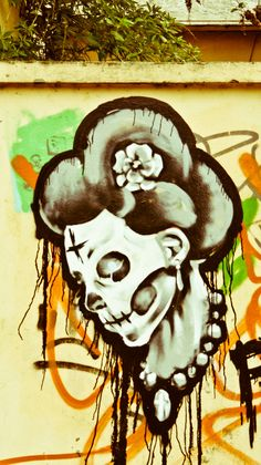 Street Art In Limerick- looks like dia de los muertos art