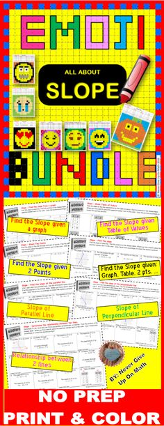 This bundle includes Emojis that are great for differentiation. The questions will be addressing the following concepts: ☑ Find the slope from a graph ☑ Find the slope given 2 points ☑ Find the slope from a table of values ☑ Find the slope of a parallel line (from graph, 2 points, equation, table) ☑ Find the slope of a perpendicular line (from graph, 2 points, equation, table) ☑ Determine the relationship between two lines ☑ Find the slope all in one
