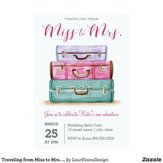 Traveling from Miss to Mrs. Pink Bridal Shower Invitation