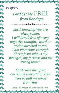 Prayer – Lord Set Me Free from Bondage, Other's Expectations, Stress and Fear.
