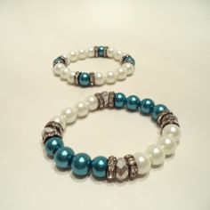 Teal and White Bracelets Set from LaTor-Gray Designz for $7.00