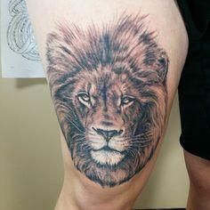 Tattoo and photo byWill Thompson  @iwilltattoo Outer Limits Costa Mesa Ca Lion Tattoo Lion Animal tattoos