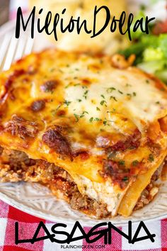 This Million Dollar Lasagna is seriously THE BEST lasagna. Lasagna with cottage cheese, sour cream, and cream cheese. Baked Lasagna, Lasagna Casserole, Italian Casserole, Pizza Lasagna, Italian Lasagna, Beef Casserole Recipes, Lasagna Soup, Lasagna Rolls, No Noodle Lasagna