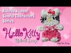 Rainbow Loom Sanrio Characters Series: HELLO KITTY UPDATED (1 loom). Designed and loomed by PG's Loomacy. Click photo for YouTube tutorial. 05/30/14.