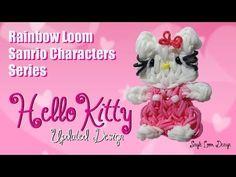 Rainbow Loom Sanrio Characters Series: Hello Kitty UPDATED (Single Loom) tutorial by PG's Loomacy.