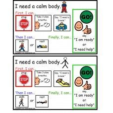 Autism - Calm Body Cards help students learn the steps to control their emotions during a stressful time.