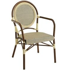 Sturdy aluminum and hardy, all-weather synthetic rattan make a handsome couple in this striking hand-woven Bistro Chair. And with a solid foundation like that, their love for one another will last forever. We're betting yours will, too.