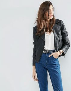 Image 1 of ASOS Ultimate Faux Leather Biker Jacket with Piped Detail