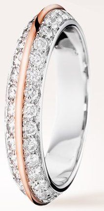 Boucheron-Eternelle Grace -web-Apr.2013,Wedding Band set with pavé diamonds, in white gold and pink gold