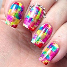 Multicolored brush strokes - Instagram photo by madamluck #nail #nails #nailart
