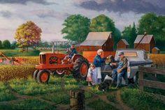 charles freitag, grandpa-s-farm Antique Tractors, Vintage Tractors, Old Tractors, Tractor Pictures, Farm Pictures, Farm Images, Farm Paintings, Acrylic Paintings, Allis Chalmers Tractors