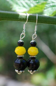 Boucles d'oreille jaune et noire en verre et cristal facetté