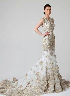 Stunning Rani Zakhem metallic gown from Spring 2014 via weddinginspirasi