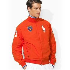 Ralph Lauren Herren Flag Track Jacket In Orange